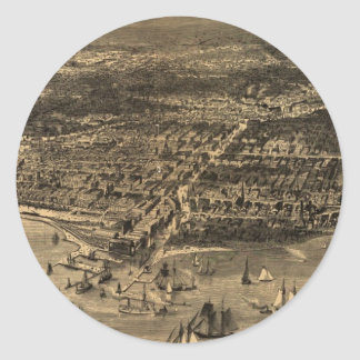 Vintage Pictorial Map of Chicago (1871) Classic Round Sticker