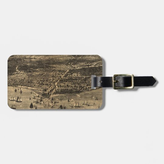 Vintage Pictorial Map of Chicago (1871) Luggage Tag
