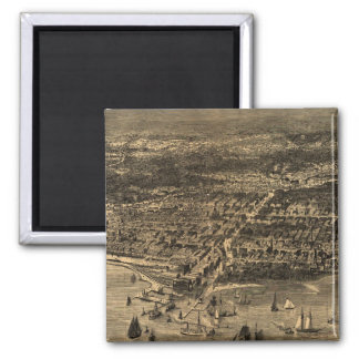 Vintage Pictorial Map of Chicago (1871) Magnet