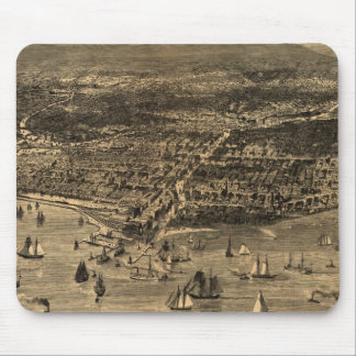 Vintage Pictorial Map of Chicago (1871) Mouse Pad