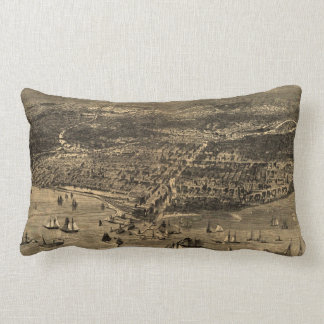 Vintage Pictorial Map of Chicago (1871) Throw Pillow
