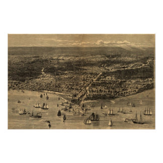 Vintage Pictorial Map of Chicago (1871) Poster