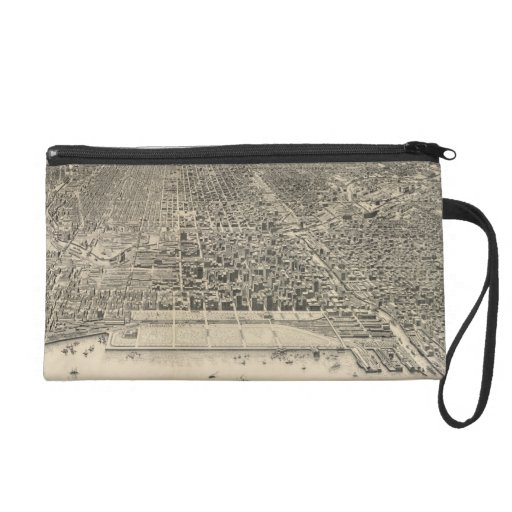 Vintage Pictorial Map of Chicago (1916) Wristlet Clutches