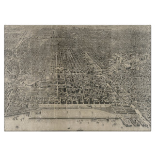 Vintage Pictorial Map of Chicago (1916) Cutting Board