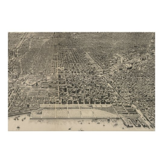 Vintage Pictorial Map of Chicago (1916) Poster