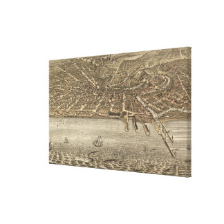 Vintage Pictorial Map of Cleveland (1877) Canvas Print