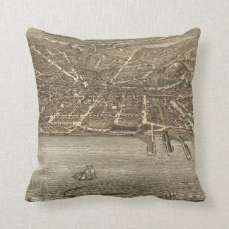 Vintage Pictorial Map of Cleveland (1877) Throw Pillow