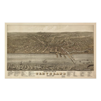 Vintage Pictorial Map of Cleveland (1877) Poster