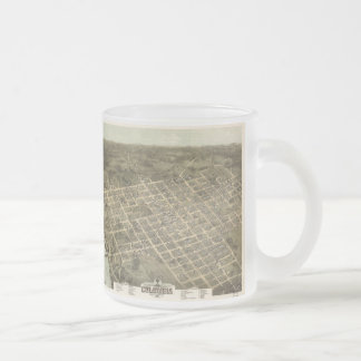 Vintage Pictorial Map of Columbia SC (1872) Frosted Glass Coffee Mug