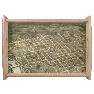 Vintage Pictorial Map of Columbia SC 1872 Serving Platters