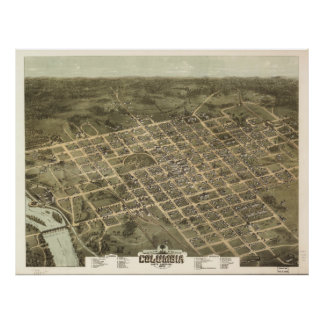Vintage Pictorial Map of Columbia SC 1872 Print