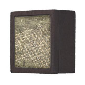 Vintage Pictorial Map of Columbia SC (1872) Premium Trinket Boxes