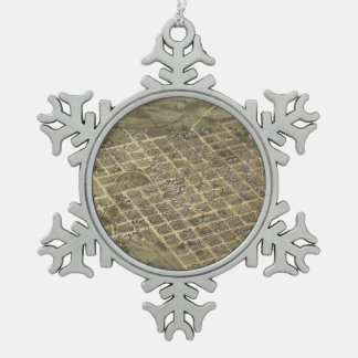 Vintage Pictorial Map of Columbia SC (1872) Snowflake Pewter Christmas Ornament