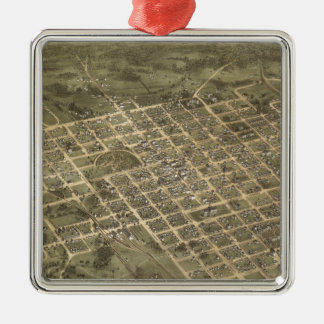 Vintage Pictorial Map of Columbia SC (1872) Square Metal Christmas Ornament