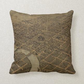 Vintage Pictorial Map of Columbus Ohio (1872) Throw Pillow