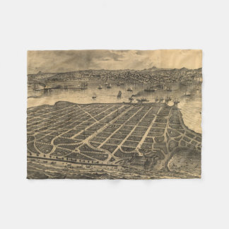 Vintage Pictorial Map of Coronado Beach (1880) Fleece Blanket