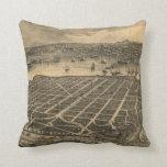 Vintage Pictorial Map of Coronado Beach (1880) Throw Pillow