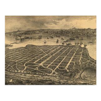 Vintage Pictorial Map of Coronado Beach (1880) Postcard