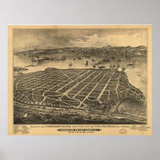 Vintage Pictorial Map of Coronado Beach (1880) Poster