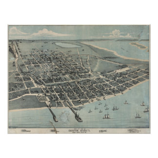 Vintage Pictorial Map of Corpus Christi TX (1887) Poster