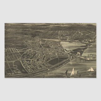 Vintage Pictorial Map of Cottage City (1890) Rectangular Sticker