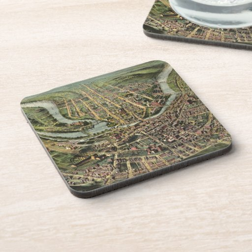 Vintage Pictorial Map of Cumberland MD (1906) Drink Coaster
