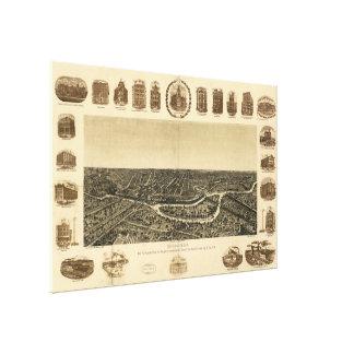 Vintage Pictorial Map of Dallas Texas (1892) Gallery Wrap Canvas