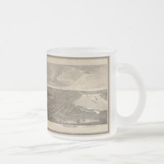 Vintage Pictorial Map of Davenport Iowa (1875) Frosted Glass Coffee Mug