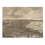 Vintage Pictorial Map of Davenport Iowa (1875) Postcard