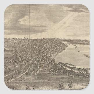 Vintage Pictorial Map of Davenport Iowa (1875) Square Sticker