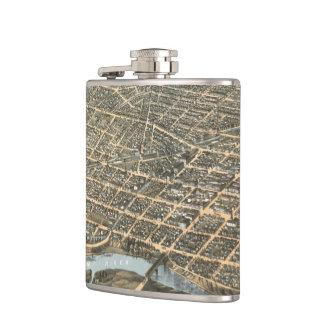 Vintage Pictorial Map of Dayton Ohio (1870) Flask