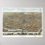 Vintage Pictorial Map of Dayton Ohio (1870) Poster