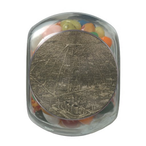 Vintage Pictorial Map of Denver Colorado (1887) Jelly Belly Candy Jars