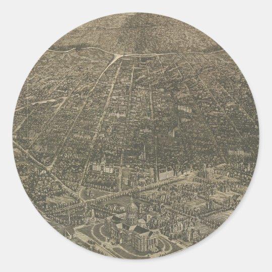 Vintage Pictorial Map of Denver Colorado (1887) Classic Round Sticker
