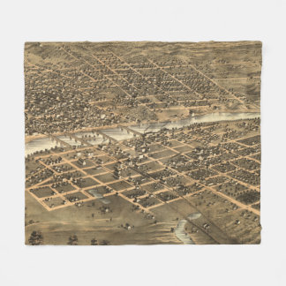 Vintage Pictorial Map of Des Moines Iowa (1868) Fleece Blanket
