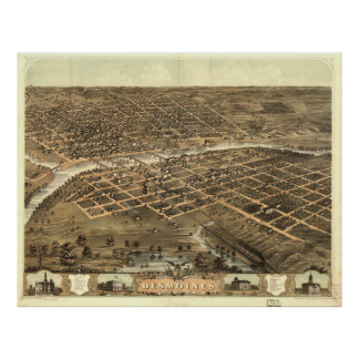 Vintage Pictorial Map of Des Moines Iowa (1868) Poster