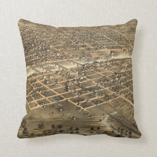 Vintage Pictorial Map of Des Moines Iowa (1868) Throw Pillow