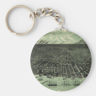 Vintage Pictorial Map of Detroit Michigan (1889) Keychain