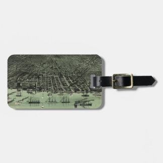 Vintage Pictorial Map of Detroit Michigan (1889) Bag Tag