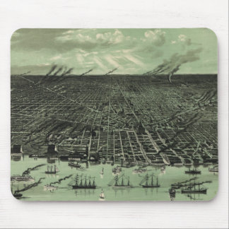 Vintage Pictorial Map of Detroit Michigan (1889) Mouse Pad
