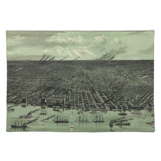 Vintage Pictorial Map of Detroit Michigan (1889) Placemat