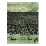 Vintage Pictorial Map of Detroit Michigan (1889) Postcard