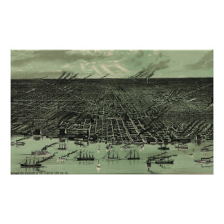 Vintage Pictorial Map of Detroit Michigan (1889) Poster