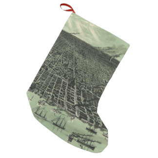 Vintage Pictorial Map of Detroit Michigan (1889) Small Christmas Stocking