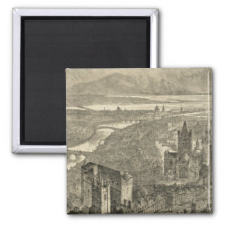 Vintage Pictorial Map of Dublin Ireland (1890) 2 Inch Square Magnet