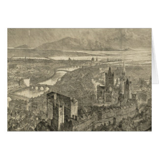 Vintage Pictorial Map of Dublin Ireland (1890) Greeting Card