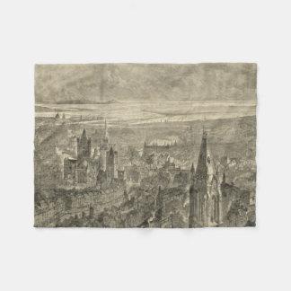 Vintage Pictorial Map of Dublin Ireland (1890) Fleece Blanket