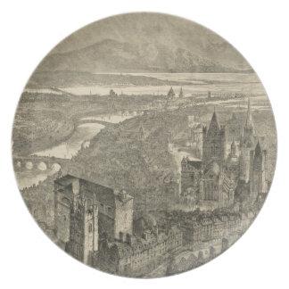 Vintage Pictorial Map of Dublin Ireland (1890) Melamine Plate