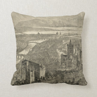Vintage Pictorial Map of Dublin Ireland (1890) Throw Pillow