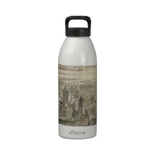 Vintage Pictorial Map of Dublin Ireland (1890) Reusable Water Bottles